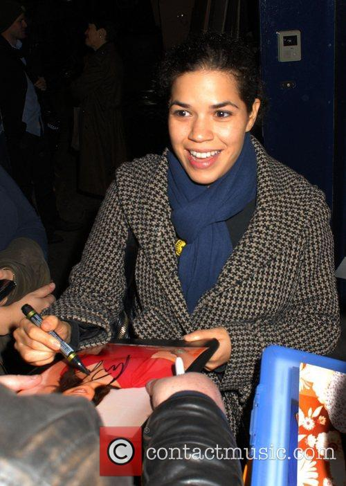 America Ferrera leaves the Garrick Theatre after performing...