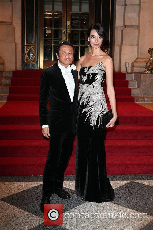 Designer Zang Toi (L) and model Natalia Costa...