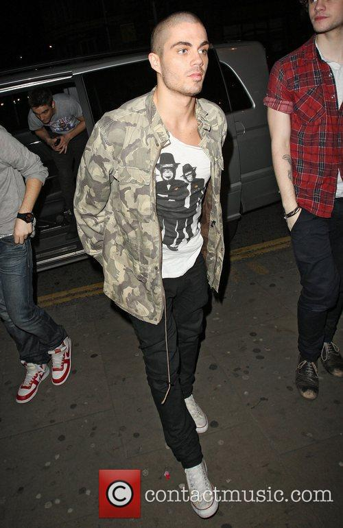 Max George of The Wanted arriving at Amika...