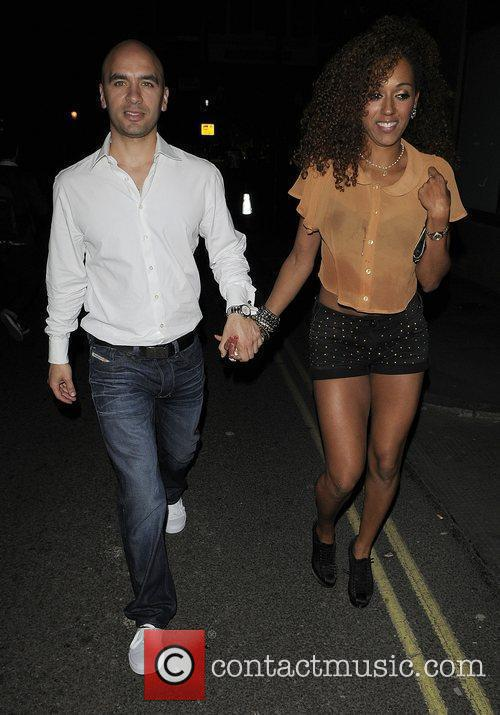 Danielle Brown and her boyfriend leaving Amy Childs...