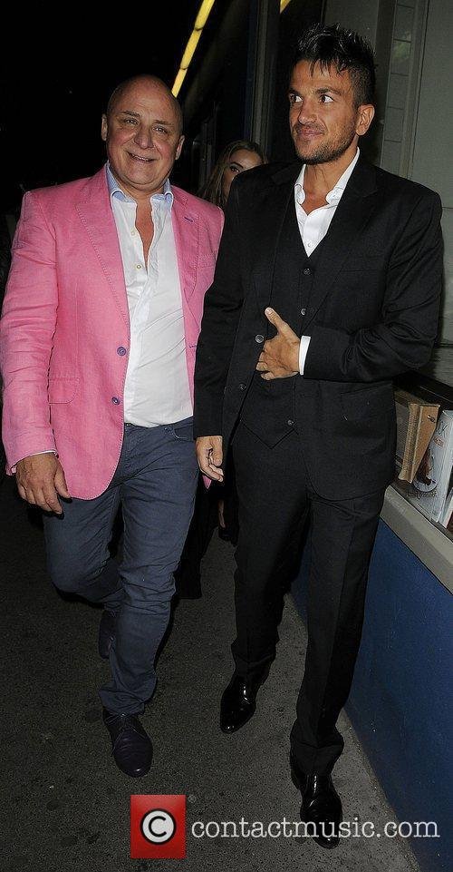 Peter Andre and Aldo Zilli outside Amy Childs...