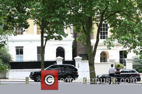 General View of Police at Amy Winehouse's house...