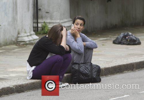 Mourners at Amy Winehouse's house after her death...