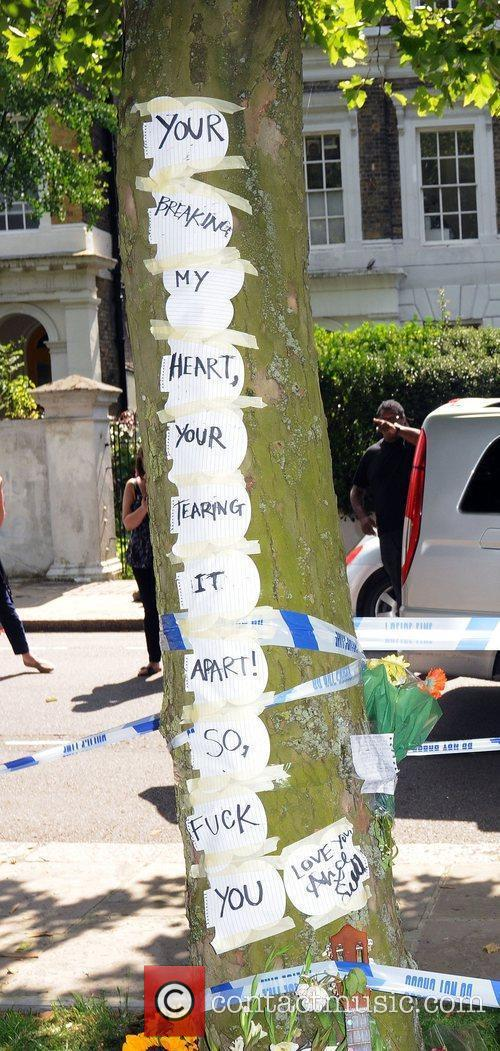 Tribute outside Amy Winehouse's house following her tragic...
