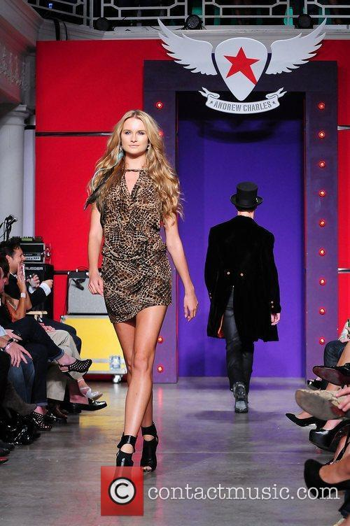 A model walking the runway during Andy Hilfiger's...