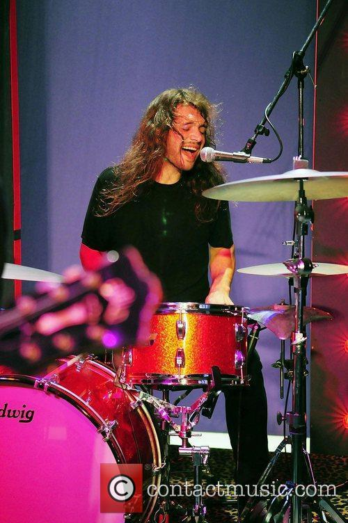 Drummer Grant Wilson of rock group The Click...