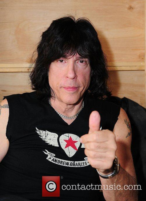 Drummer Marky Ramone backstage after Andy Hilfiger's introduction...
