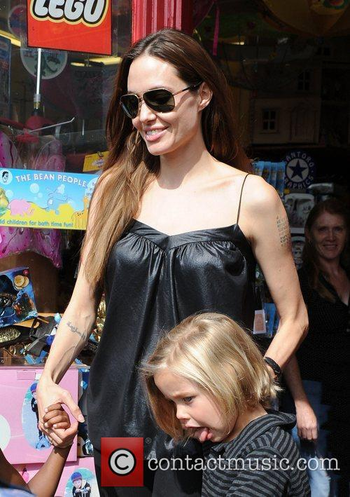 Angelina Jolie and daughter Shiloh Nouvel Jolie-Pitt leaving...