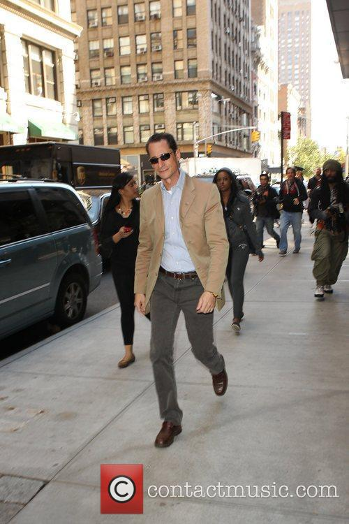 Former Congressman Anthony Weiner is seen out and...