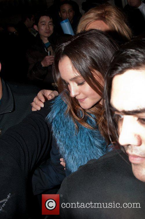 Leighton Meester is mobbed by photographers and fans...
