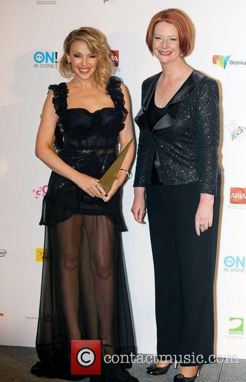 Kylie Minogue with Australian prime minister Julia Gillard...