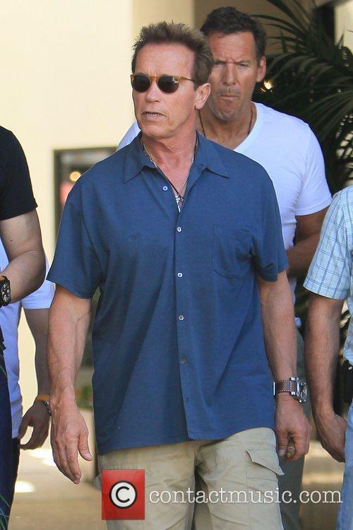 Arnold Schwarzenegger seen leaving Cafe Roma in Beverly...
