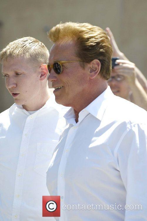 Newly single Arnold Schwarzenegger is seen leaving Cafe...
