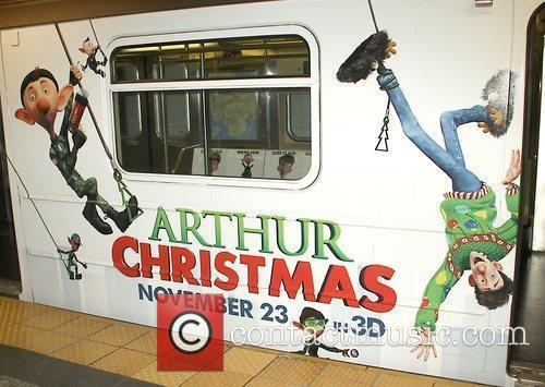 Atmosphere Arthur Christmas MTA Shuttle unveiling at Grand...