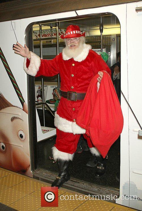 Arthur Christmas MTA Shuttle unveiling at Grand Central...