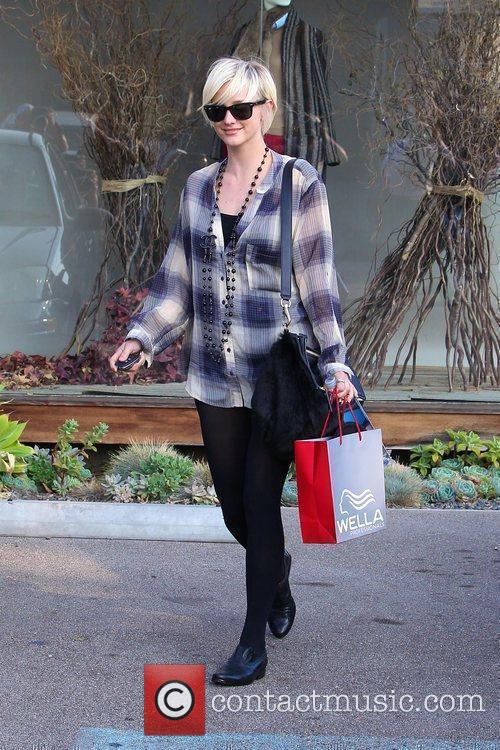 Ashlee Simpson exits a salon in West Hollywood...