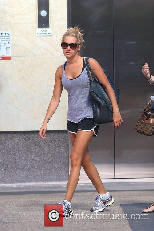 Ashley Tisdale leaves her gym after a workout...