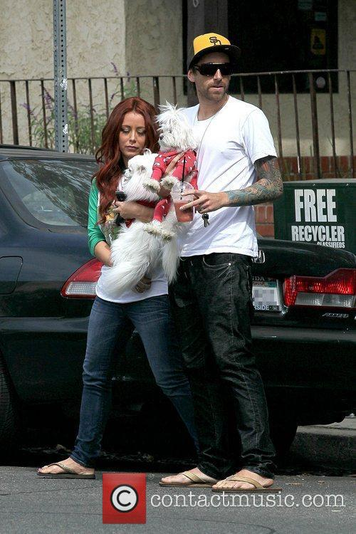 Aubrey O'Day holding her dog after having lunch...