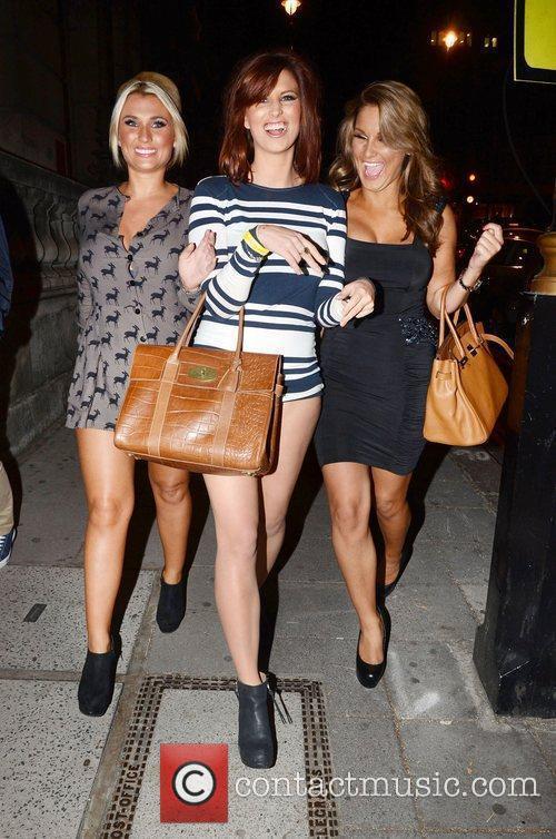 Billie Faiers and Sam Faiers leaving Aura nightclub...