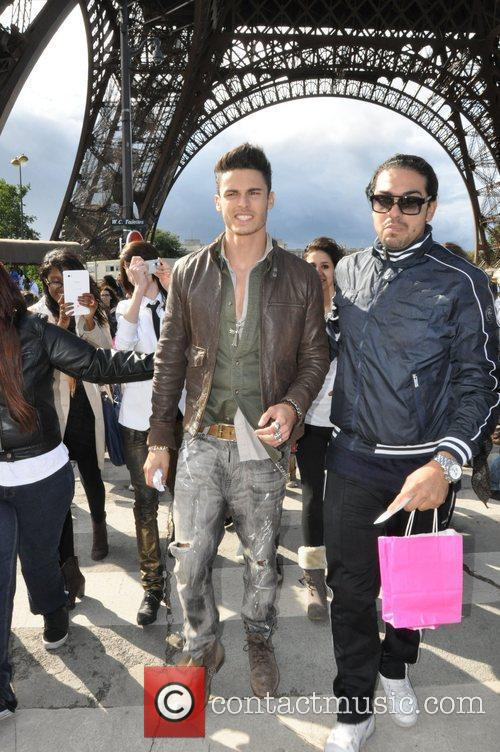 Male Model, Baptiste Giabiconni, greets fans whilst visiting...
