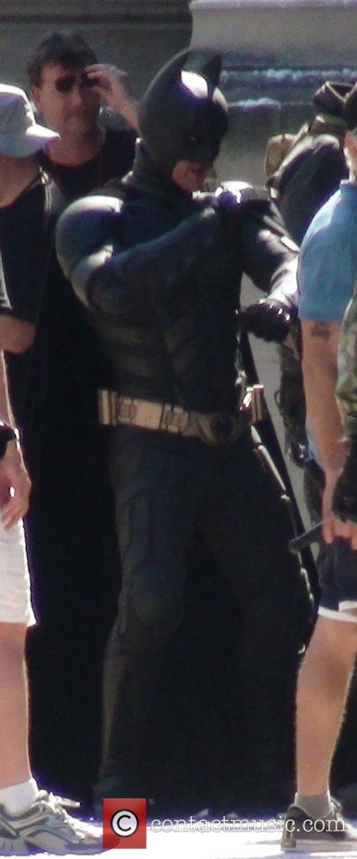 Christian Bale (as Batman) 'Dark Knight Rises' filming...