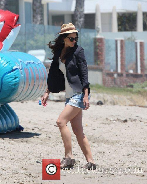 Katie Holmes,  at a Memorial day beach...