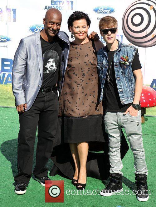 Stephen Hill, Debra Lee, and Justin Bieber BET...