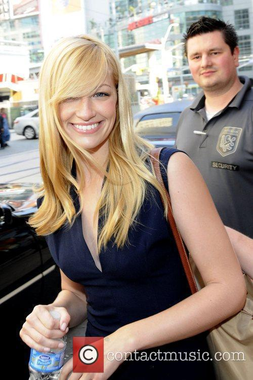 Leaving CityTV station in Toronto during her promotional...