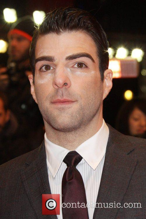 Zachary Quinto appears to have makeup under his...