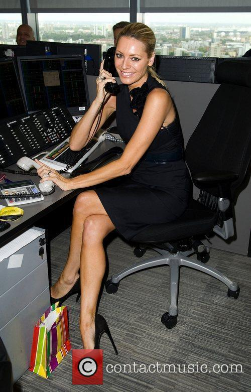 Tess Daly,  on the trading floor of...