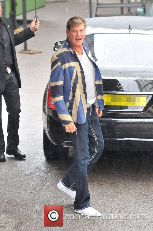 David Hasselhoff arriving at the studio for the...