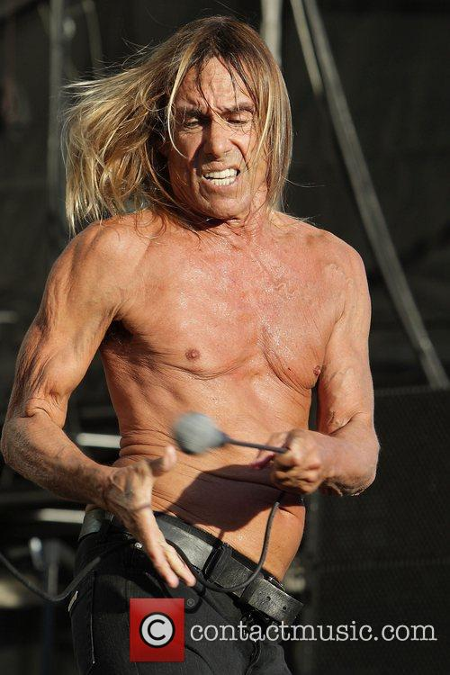 Iggy Pop performing live in concert as part...