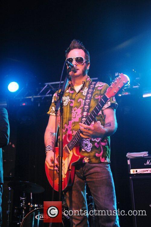 Frontman Aaron Barrett of Big Reel Fish performing...
