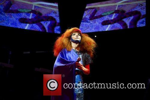 Bjork performing live at Campfield Market Hall during...