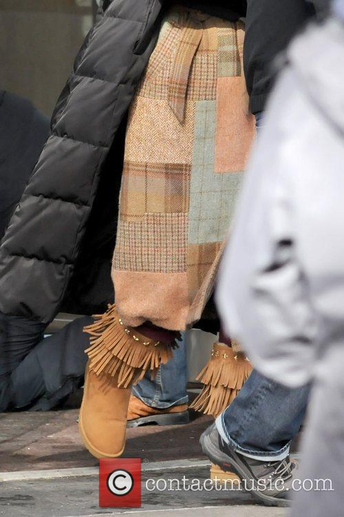 Blake Lively's winter boots Blake Lively being ushered...