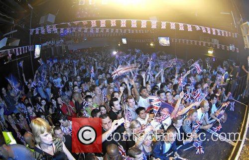 Crowd with British flags Blue perform live at...