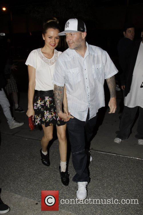 Fred Durst and his girlfriend leave BOA Steakhouse...