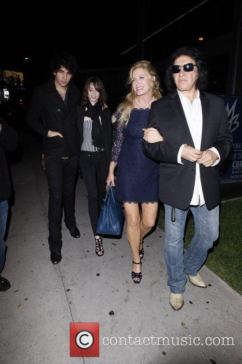 Nick Simmons, Shannon Tweed and Gene Simmons outside...