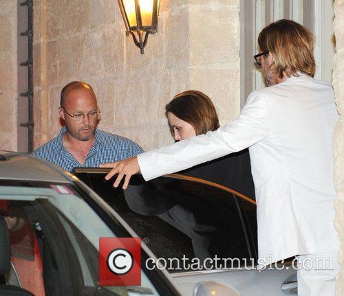 Brad Pitt and Angelina Jolie leaving Mondion Restaurant...