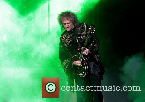 Brian May performing at Manchester Bridgewater Hall on...