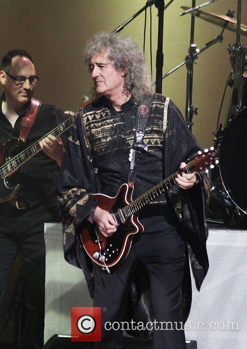 Brian May performing at Manchester Bridgewater Hall on...