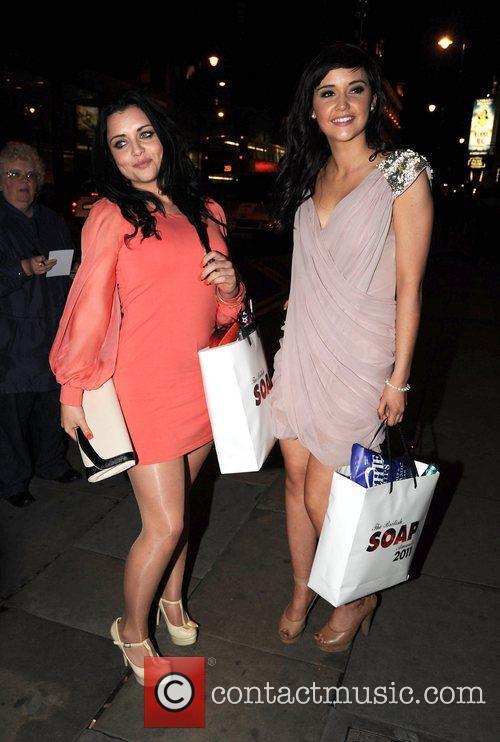 Shona McGarty and Jaqueline Jossa Celebrities arrive back...