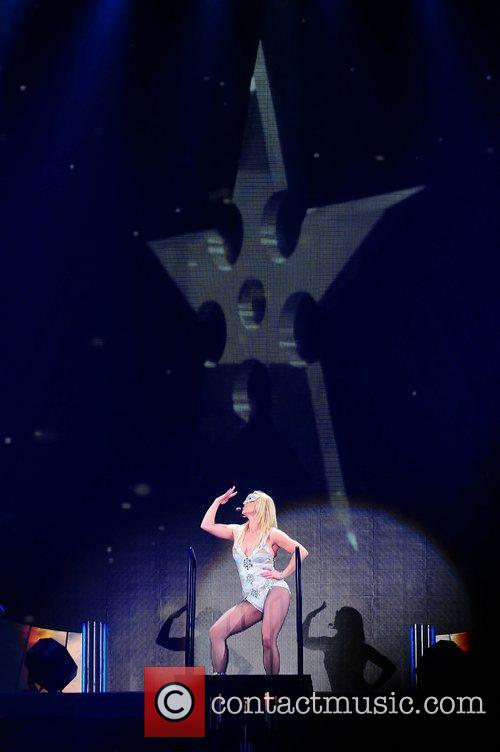 Britney Spears performing during the Femme Fatale tour...