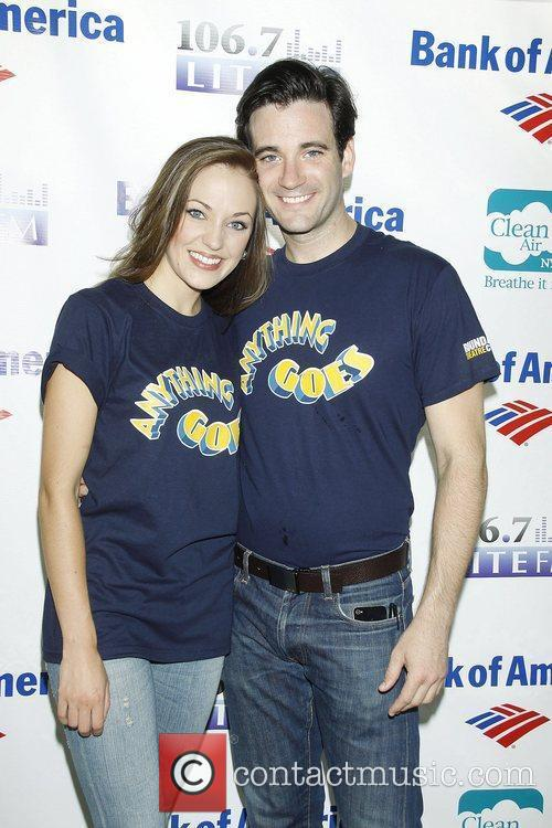 Laura Osnes and Colin O'Donnell attend Broadway in...