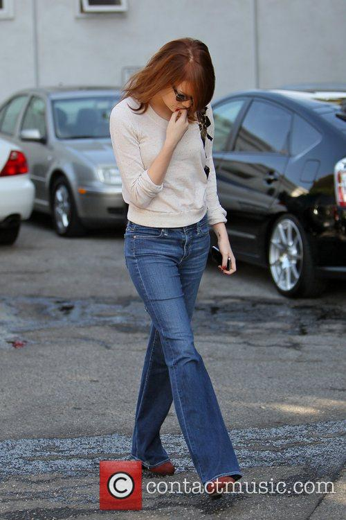 Emma stone Celebrities outside Byron and Tracey Salon...