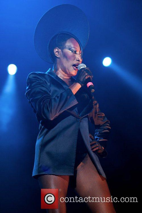 Grace Jones performing at the Byron Bay Bluesfest...