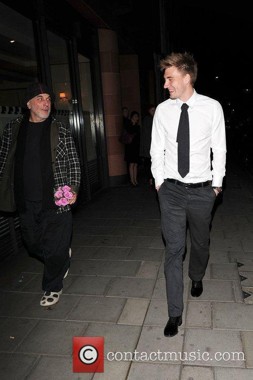 Arsenal footballer Nicklas Bendtner leaving C London restaurant