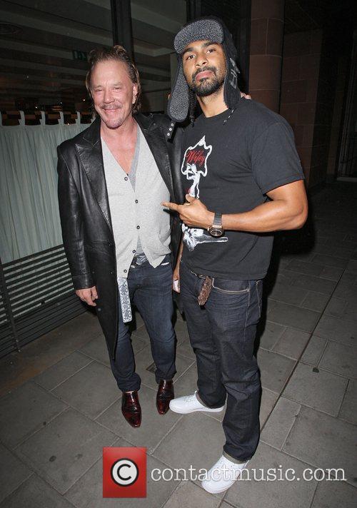 Mickey Rourke and David Haye leaving C London...