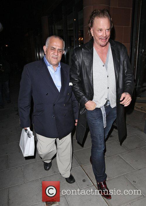 Mickey Rourke leaving C London restaurant in Mayfair....
