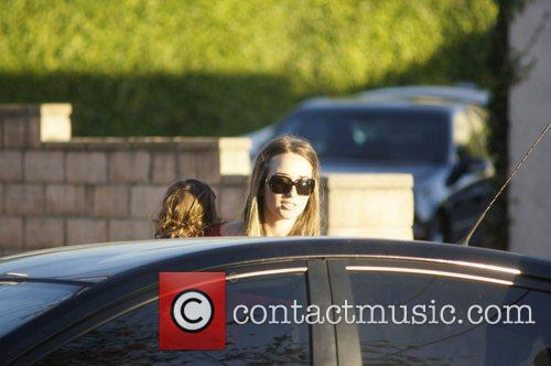 Dominique Geisendorff and her daughter Everleigh leaving the...